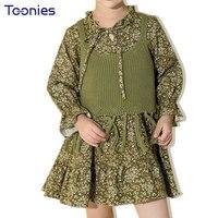 Autumn Clothing Sets Baby Girl Clothes Flowers Print Princess Suits 2017 New Design Children Dress Knit