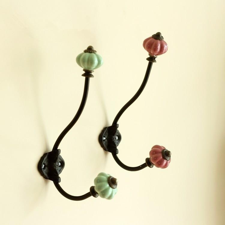 Aliexpress.com : Buy European ceramic pumpkin head wrought iron coat hook  hanging hook home