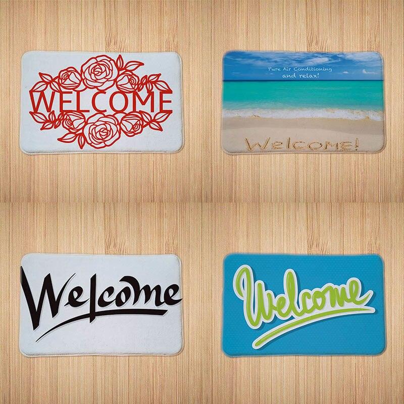 Welcome Floor Mats Printed Bathroom Kitchen Carpets Doormat Floor Mat For Living Room Anti-Slip Accept Customize Design 40x60cm