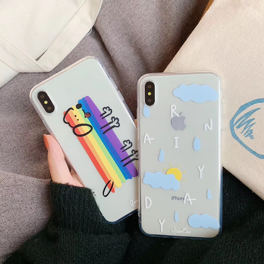 New INS Korea Super Fire Cute Rainbow Dog Phone case For iphone Xs MAX XR X