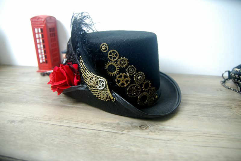 Retro Vintage Unisex Phong Cách Khoa Học Viễn Tưởng Hoa Hồng Bánh Răng Đen Mũ có Cánh và Lông Vũ Gothic Thời Victoria Nón Halloween Lolita Cosplay Nón