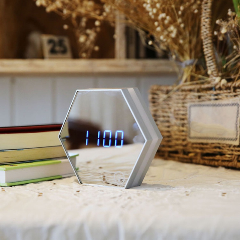 Multifunction Digital Electronic Led Mirror Clock Temperature Large Display Home Decor Mirror Function Lamp