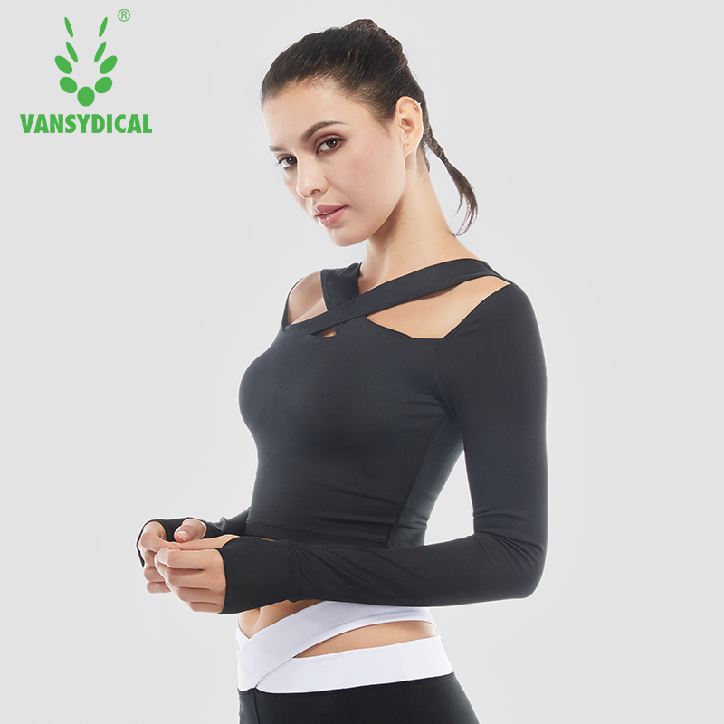 Sexy Cross Exposed navel Yoga Shirts Women Long Sleeve Sports Tops Breathable Fitness T-Shirts Padded Excise Workout Crop Tops