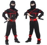 Children Super Handsome Boy Kids Black Ninja Warrior Costumes Halloween Christmas Party Carnival Game Clothing Gift