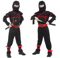 Children Super Handsome Boy Kids Black Ninja Warrior Costumes Halloween Christmas Party Carnival Game Clothing Gift