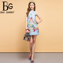 Baogarret Summer Fashion Designer Dress Women's Beading Floral Printed Elegant Casual Vacation Ladies A-Line Mini Dresses blue random floral printed a line mini dress