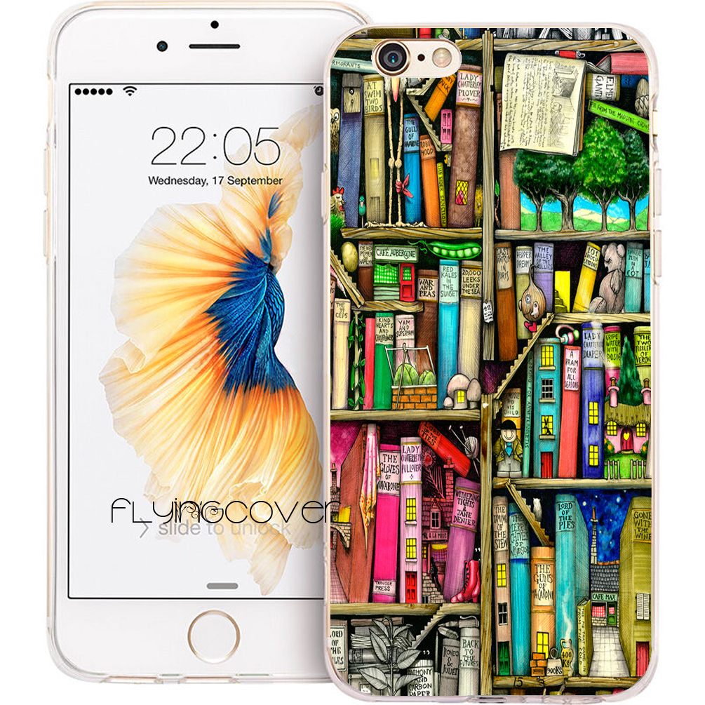 Coque Boek Plank Boekenkast Transparant Clear Soft Tpu Telefoon Gevallen Voor Iphone 7 7 Plus Case Voor Iphone 5 S 5 Se 6 6 S Plus 4 4s 4 Cover