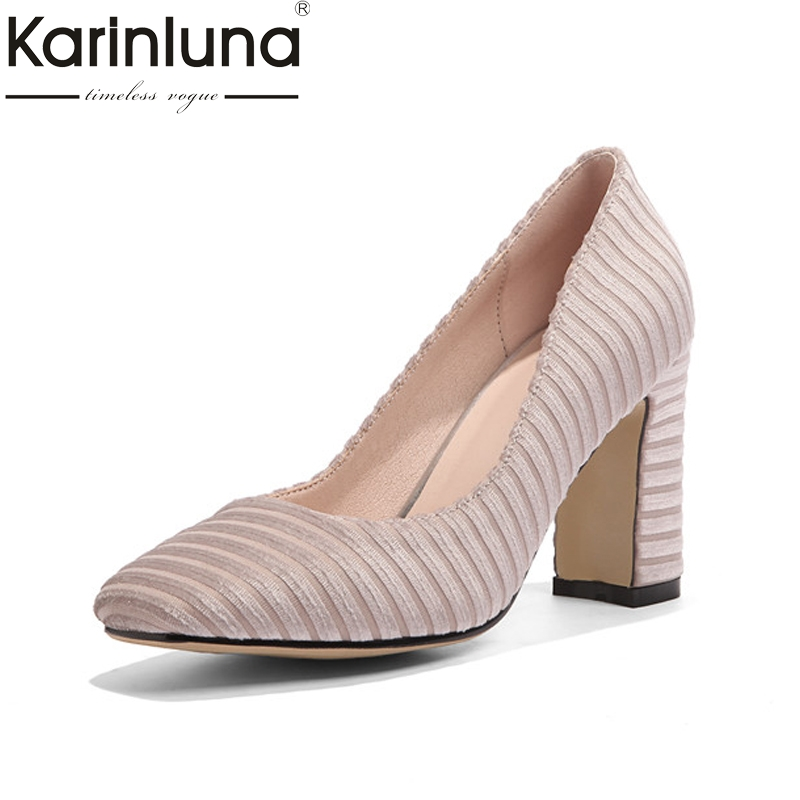 KarinLuna Women's Vintage Square High Heel Party Wedding Shoes Woman 2018 Slip On Less Pumps Big Size 33-43 цена