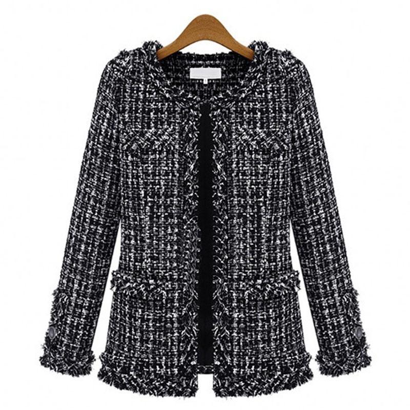 2019 Women Fashion Coat Autumn Winter Thin Black Checkered Tweed Casual Plaid Jacket Outerwear FS0273 2019 Women Fashion Coat Autumn Winter Thin Black Checkered Tweed Casual Plaid Jacket Outerwear FS0273