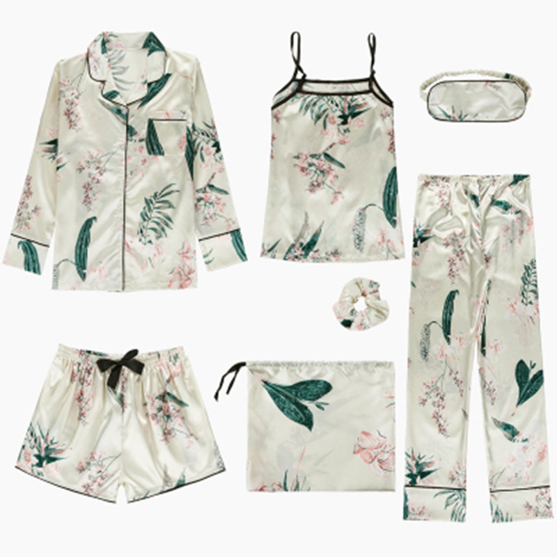 8 Piece/  Set   Print Flower Women Spring/Summer   Pajamas     Set   Rayon Silk Print Pyjamas Female Robe Shirt Stitch Lingerie Sleepwear