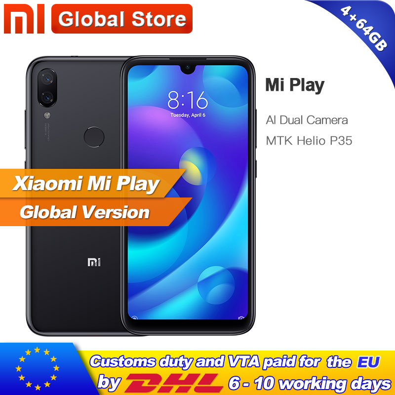 Global Version Xiaomi Mi Play 64GB 4GB Telephone MTK Helio P35 Octa Core Dual 12MP 2MP
