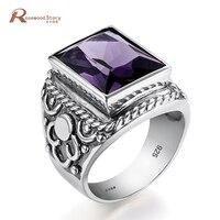 Luxury Gothic Purple Stone Statement Ring For Women Men Fashion Designer Antique Wedding Party Ring 925