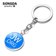 SONGDA JW Org Keychain Bright Color Jehovah's Witnesses Glass Cabochon Pendant Key Chain Sleutelhanger Car/Bag Key Ring Holder(China)