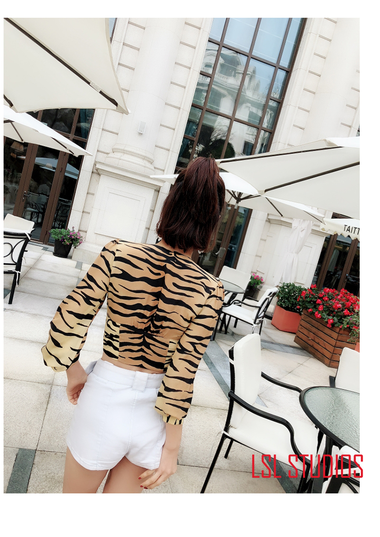 Della Tigre As Lunga Camicetta Breve Del Delle 100 Manica Di Modello A V Seta Picture Donne Show Scollo Top naqRazYB0w