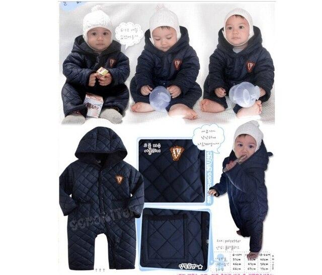 Новый 2016 зимняя одежда, baby girl зимняя одежда, ребенка ползунки, теплая одежда, новорожденный, ребенок в целом, мальчик девочка комбинезон, 6-24 М