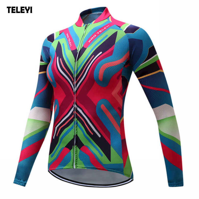 TELEYI Womens Pro Team Outdoor Riding Bike Ropa Ciclismo Cycling Clothing Long Sleeve Jersey Tops Quick Dry XS-4XL