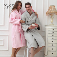 XMS Brand New Waffle bathrobe men women cotton terry women's robe nightgown ladies sleepwear long soft home hotel Spring Winter
