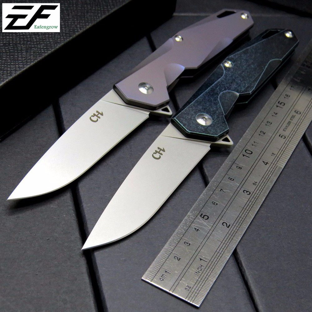 Eafengrow CH 1407 Bearing folding knife AUS-8 Blade steel Pocket Hunting Knife TC4 Titanium Alloy Handle Camping Tool EDC knives bestlead chinese peony pattern zirconia ceramics 4 6 knife chopping knife peeler holder