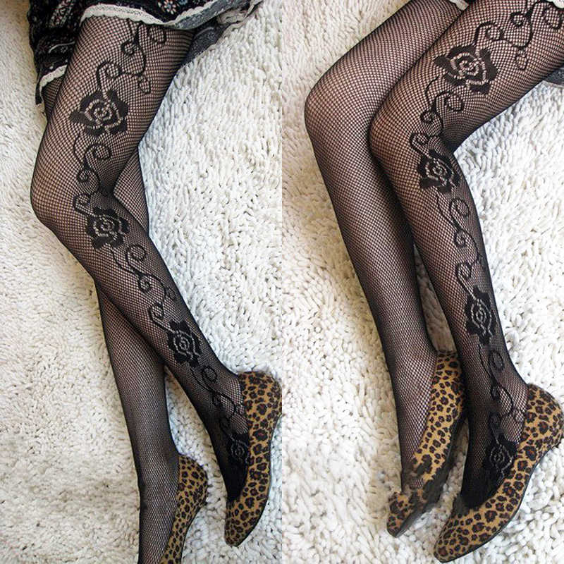 633e3326e7d ... LIMSISNIW Women Fashion Grace Flowers Design Fishnet Nylon Black Tights  with Rose on Both Sides Ladies