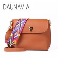 DAUNAVIA Hot Sale Women Leather Mini Shoulder bags Simple Flap Sling Crossbody Messenger Bags Colorful Wide Strap Handbag Purses