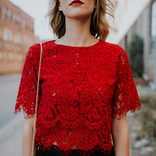 2019 Red Loose Blouse Women Short Sleeve Tops Shirt Casual L