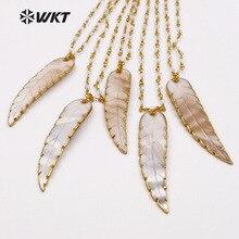 WT-JN034 WKT Wholesale natural shell necklaces long leaf pen