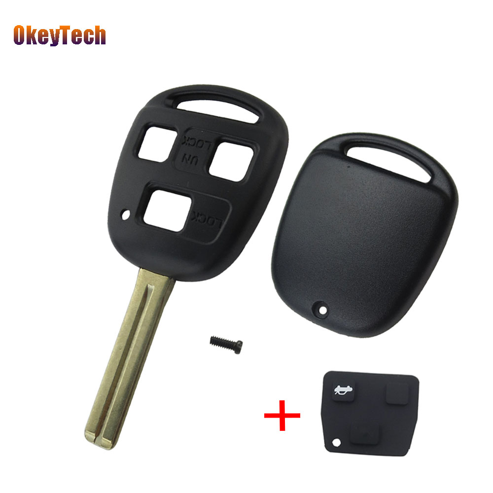 OkeyTech Uncut Blank Replacement Remote Key Shell Case for Toyota Avensis Yaris Auris 3 Buttons Cover & Rubber Pad Toy48 Blade toy48