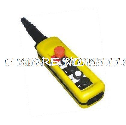 1pcs 2 Speed Hoist Crane 4 Pushbuttons Pendant Control Station With Emergency Stop XAC-4913