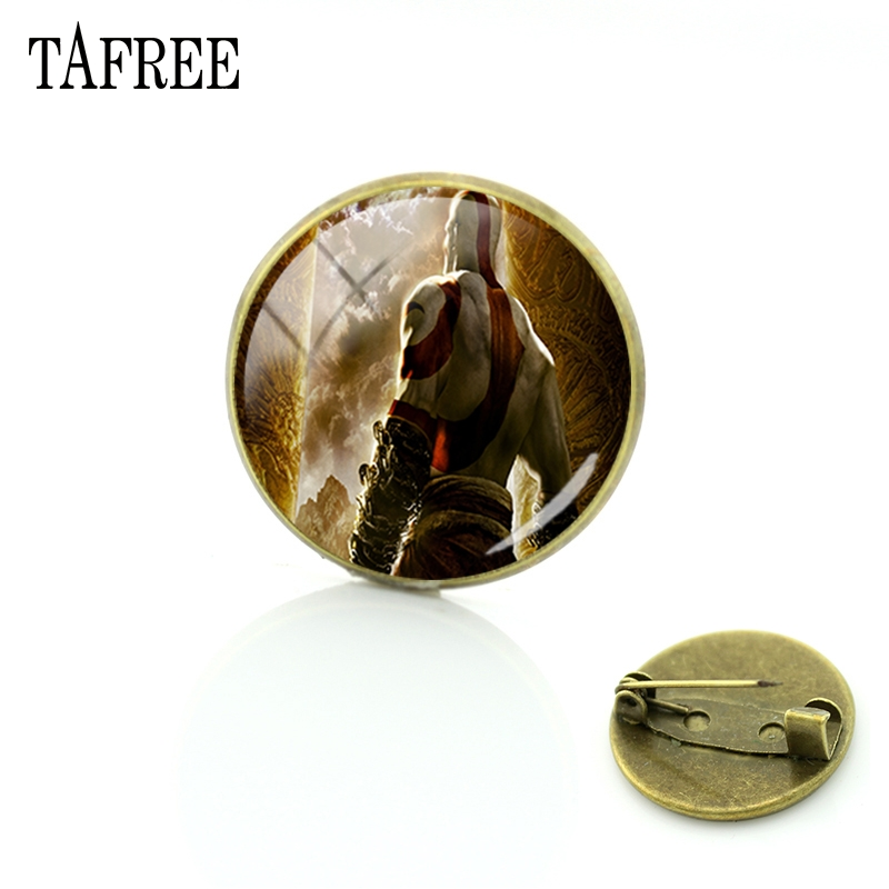 TAFREE God of War Classic Action Games Brooches Pins Cool Popular Vintage Badge Glass Cabochon Dome Handcraft Pins Jewelry GW39 image