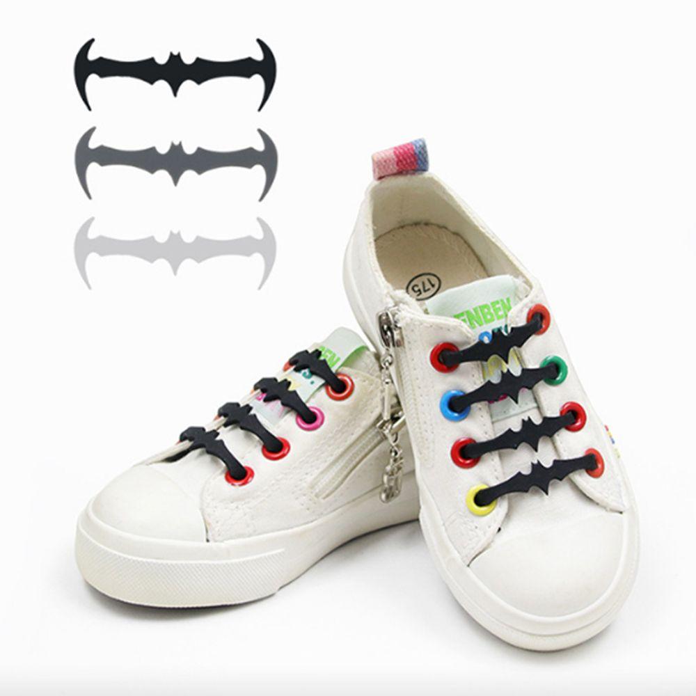12PC/16PC Silicone shoes lace Elastic Plastic No Tie White Black Grey silicone lacci Adult Children Bat Shape Elastic Shoelaces oem 12pc no