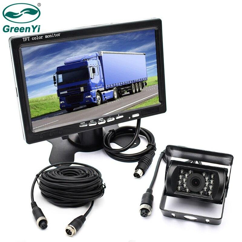 GreenYi Véhicule IR LED Back up Caméra de Recul 4-pin Connecteur + 7 LCD Couleur TFT Vue Arrière moniteur 800*480 pour Bus Camion RV