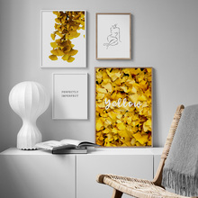 Wall Art Canvas Painting Golden Ginkgo Leaf Sexy Line Girl Nordic Posters And Prints Plant Pictures For Living Room Decor