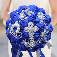 New Fashion Royal Blue Artificial Flowers Wedding Bouquets With Crystal Bridal Brooch Bouquets Brides Bouquet De Mariage 2018