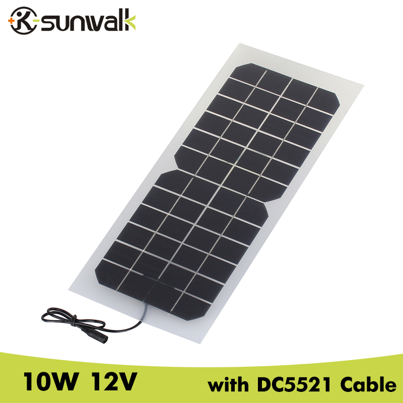 SUNWALK Monocrystalline silicon 10W 12V Solar Panel with DC 5521 Cable Semi-flexible Transparent 12V Solar Panel Charger sunpower flexible solar panel 12v 100w monocrystalline semi flexible solar panel 100w solar cell 21
