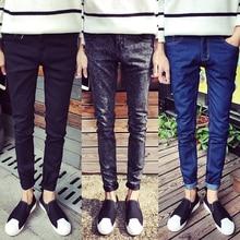 2017 negro macho skinny jeans shorts hombres de tendencia de ropa slim pequeños pantalones masculinos pantalones casuales de Gran tamaño 27-36