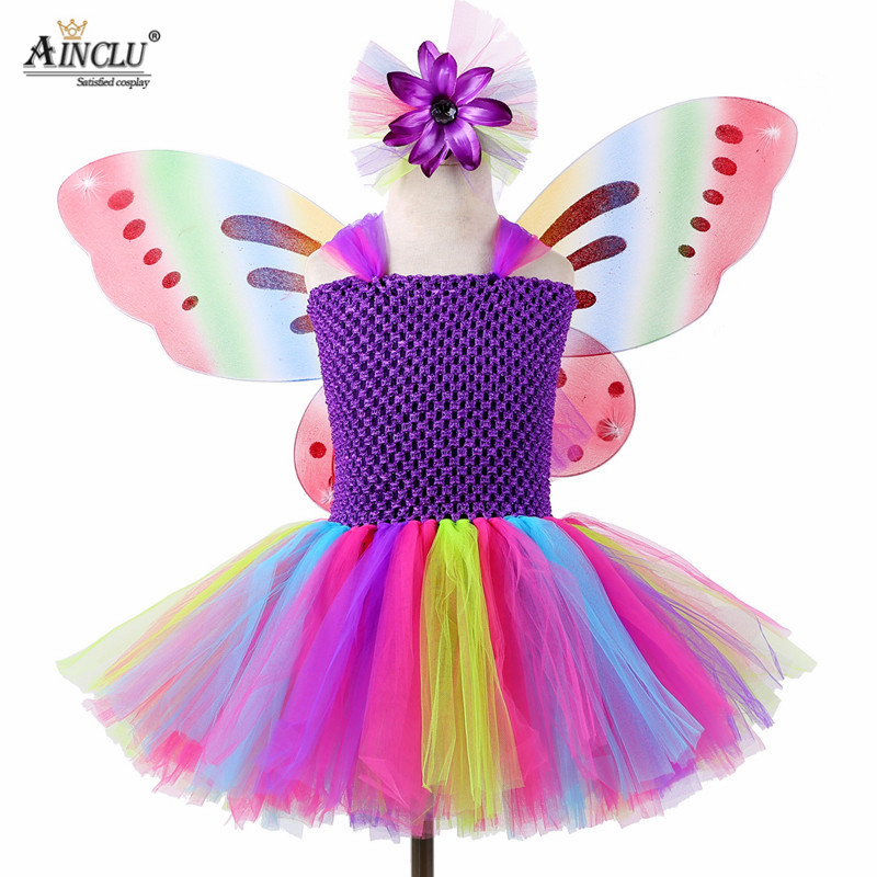 4PCS Girls Rainbow Fairy Tutu Dress with Wings Hair Princess Kids Girl Dress Halloween Butterfly Cosplay Girls Fancy Costumes