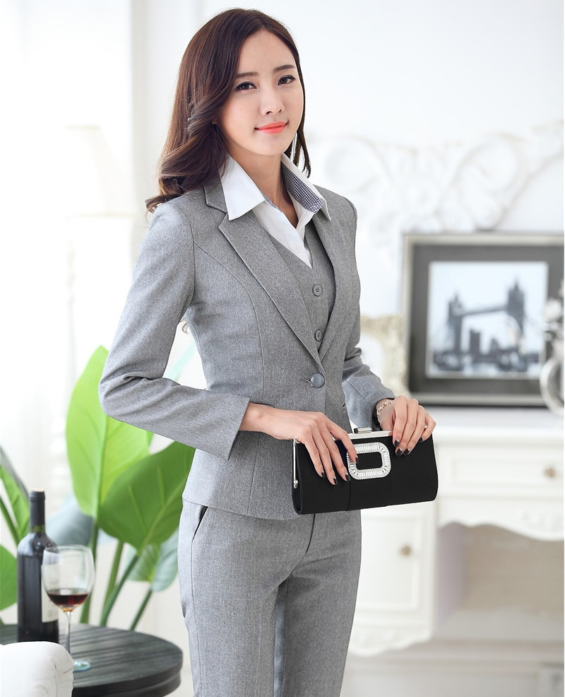 Cool 2016 Spring Summer Women39s Straight Suit Pants Mid Waist Grey Pants