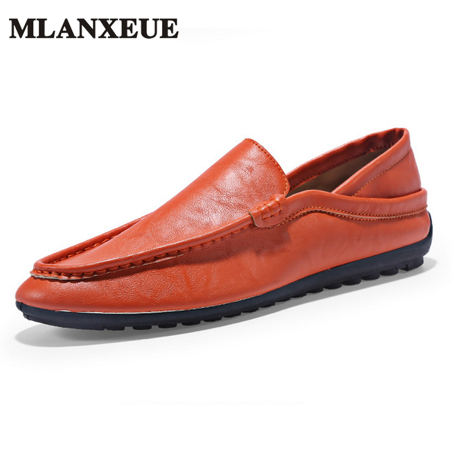 MLANXEUE Luxury Brand Designer Soft Moccasins Men Loafers Casual PU Leather Shoes Men Flats Gommino Driving Shoes Footwear Male