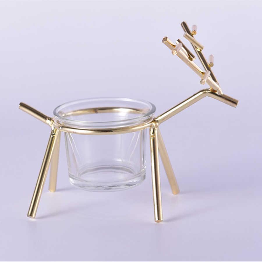 Reindeer Tealight Candle Holders Metal Christmas Candlestick Lantern Wedding Candelabra Gold Home Decor Nordic Moro Menorah Vase