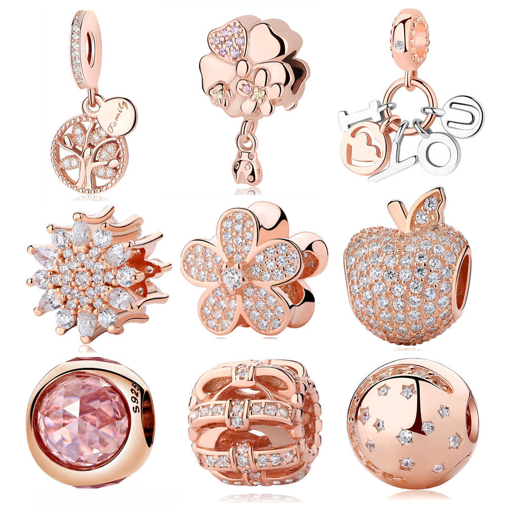 Original Authentic 925 Sterling Silver Charm Bead Bow Flower Rose Gold Cystal Pendant Charms Fit Pandora Bracelets DIY Jewelry