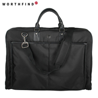 WORTHFIND Black Nylon Garment Bag With Handle Lightweight Suit Bag Business Men Travel Bags For Suits