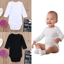 Cute Toddler Infant Baby Boys girls Solid Romper Newborn Long Sleeves Jumpsuit 2018 Autumn Black white Clothes 30(China)