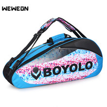2019 Quality Tennis Racket Bag 9Pcs Large Badminton Bags For Training PU Shoulder Racquet Sport Bags with Double Shoes Pocket(China)