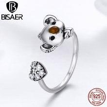 Authentic 925 Sterling Silver Little Bear Koala Heart Crystal Anel Adjustable Finger Rings for Women Wedding Jewelry ECR355