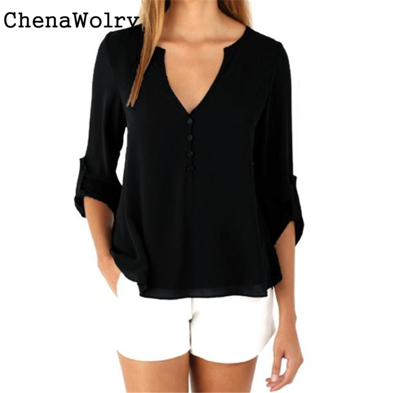 08378205fc ChenaWolry 1 PC Kobiet Luźny Długi Rękaw Chiffon Casual Bluzki Koszula Topy  Moda Bluzka Hot Sprzedaż Atrakcyjne Luksusowy Nowy   DU2145