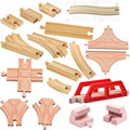 Thomas and Friends-18pcs/lot Kids Wooden Train Toys Train Wood Railwy Slot Beech Wood Track Set  fit Thomas and Brio