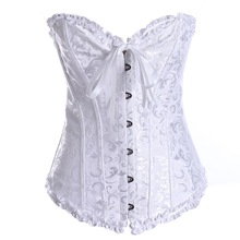 White Corsets Top for Wedding Sexy Womens Plus Size and Bustiers Overbust Gothic Strapless Brocade Corselet Clothing