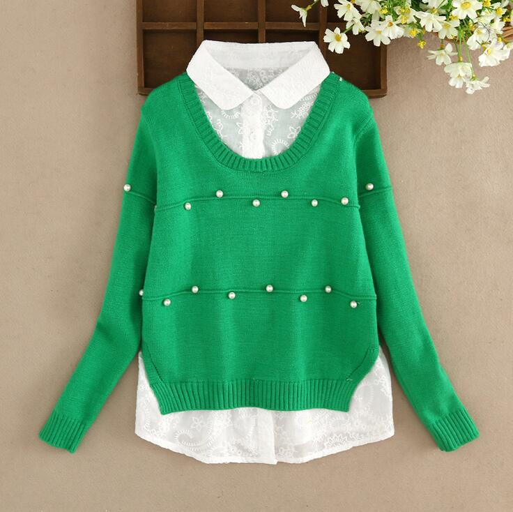 Solid Color Fake Two-piece Children Knitted Pullover Long Sleeve Pearls Sweater For Girls Clothes Splicing Cardigan Pull Fille geometric print color block splicing v neck long sleeve sweater