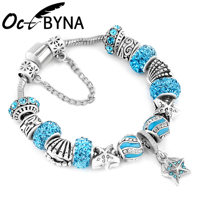 Kaisai Antique Silver Color Starfish S Bead Pandora Bracelet Ocean Charm Bracelets Bangles Fashion Jewelry