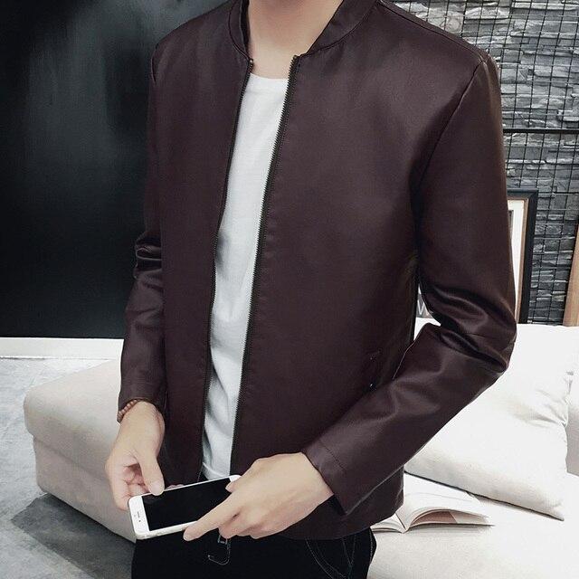 2017 New Fashion PU Jaket Kulit Pria Padat Keren Desain Musim Semi musim  gugur Coklat Hitam ada6d54194